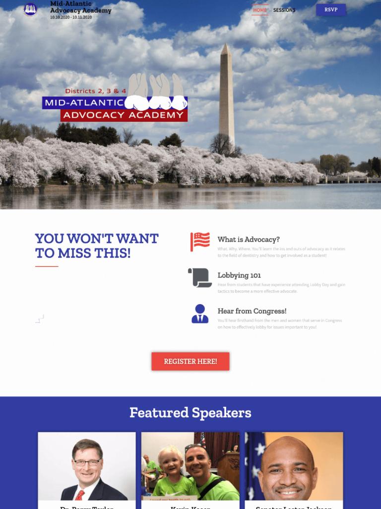 Mid Atlantic Advocacy Website Screenshot